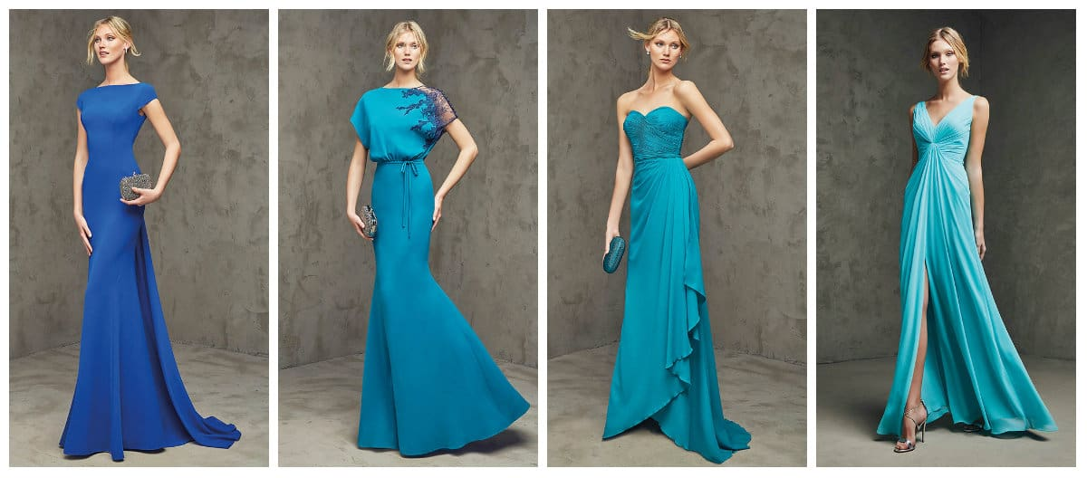 Blue Long Cocktail Prom dresses