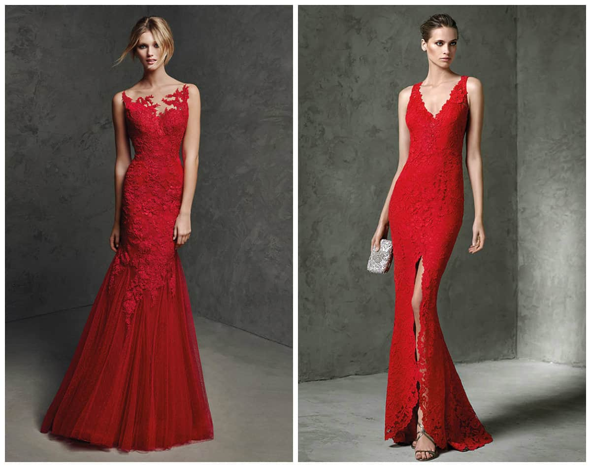 Red Long Cocktail Prom dress