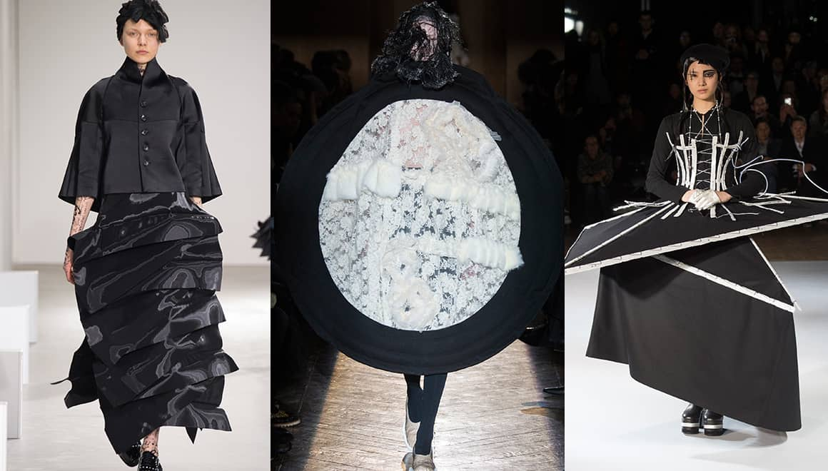 From left to right: Junya Watanabe, Comme des Garçons and Yohji Yamamoto