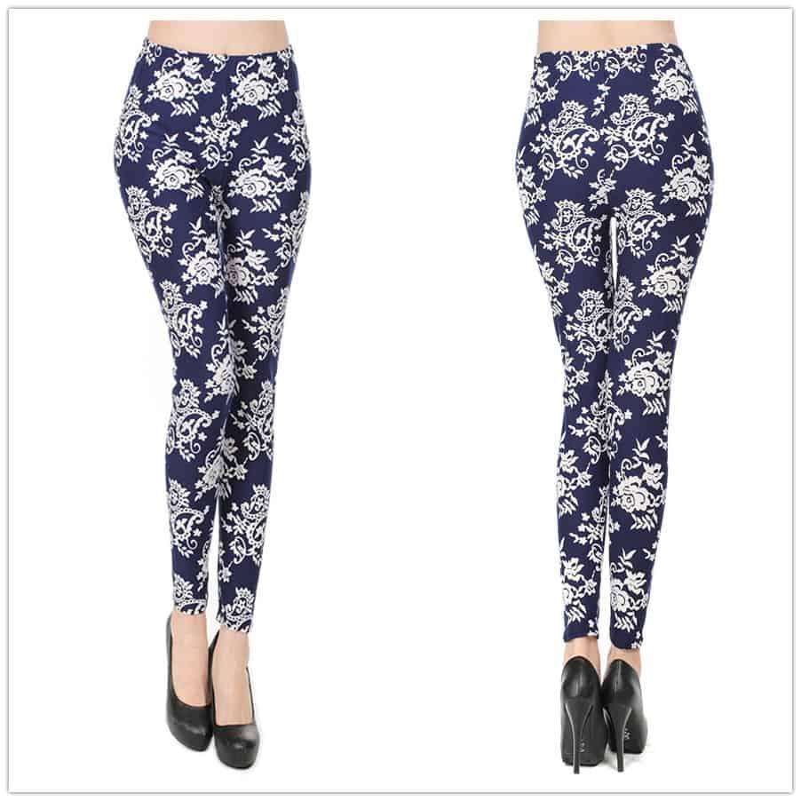 Retro-Paisley-printed-Women-s-Leggings-Dark-Blue-Stretchy-Pencil-Skinny-Pants-Floral-legwear-trouser-Green