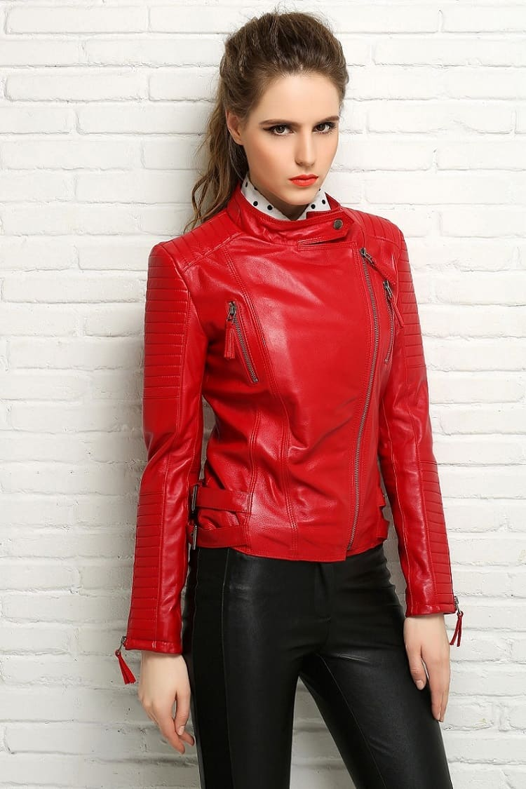 Red Leather Coat Womens - JacketIn
