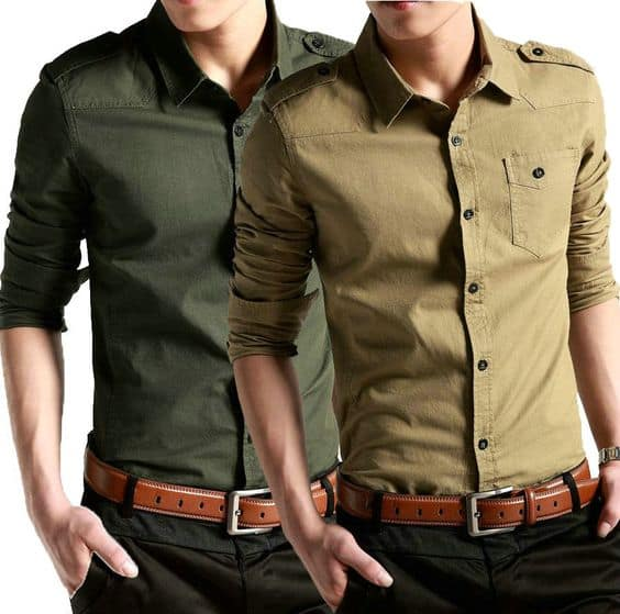 Trendy mens fashion shirts for spring and summer. Trendy mens fashion shirts in for men and women are executed in modern military style. Famous designers feel threat hanging over the world and inspired by it. Military colors as khaki and olive, and elements of leather inserts will be popular in mens fashion .