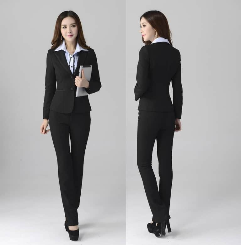 Awesome Pant Suits 2017 Spring Autumn O Neck Ruffles Female Business Women