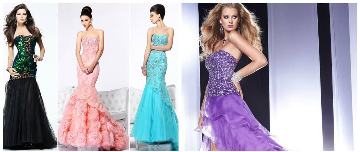 ball gown dresses, gown dresses with lush skirt in style of mermaid