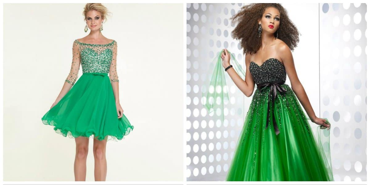 elegant evening gowns, green stylish ball gowns