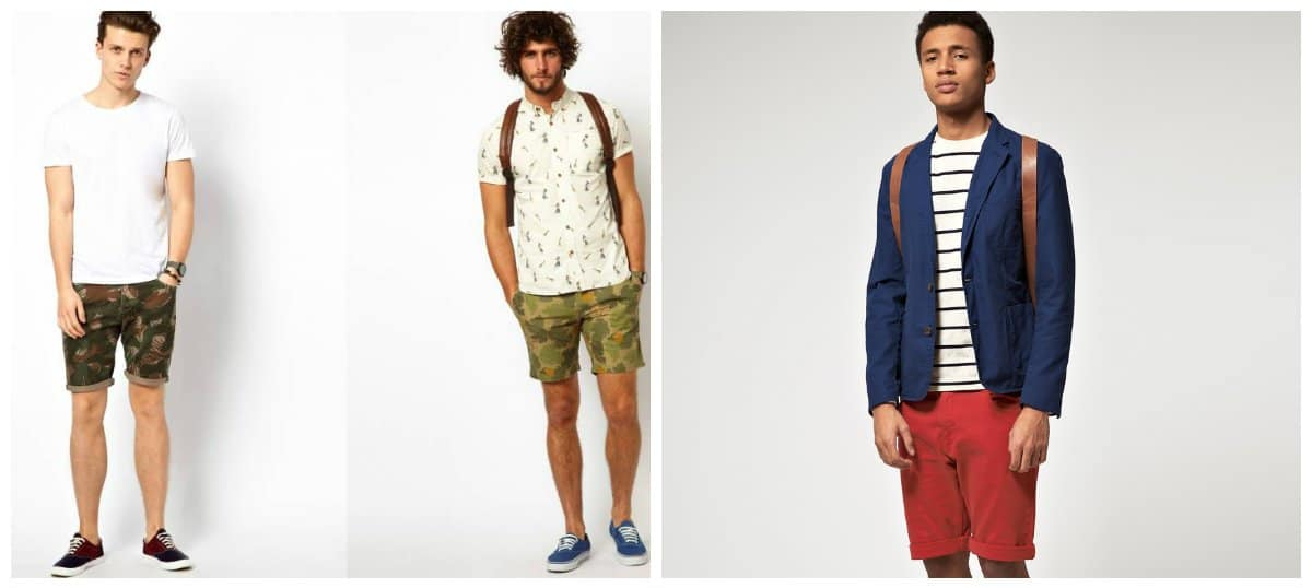 mens fashion shorts, camouflage and red shorts