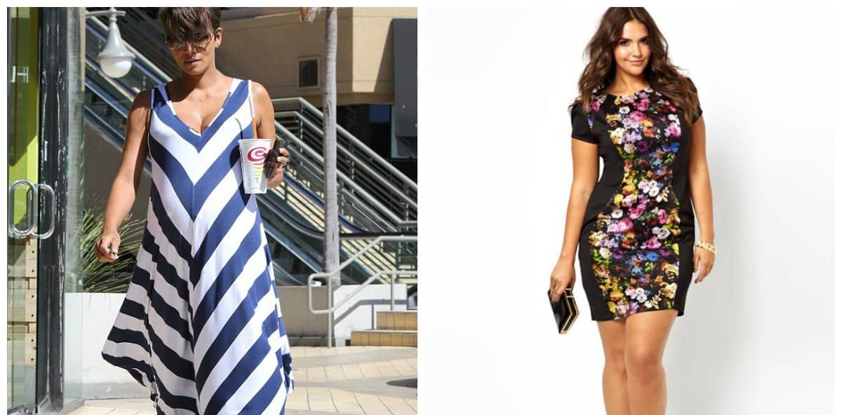 trendy plus size dresses, dress with strips and floral prints