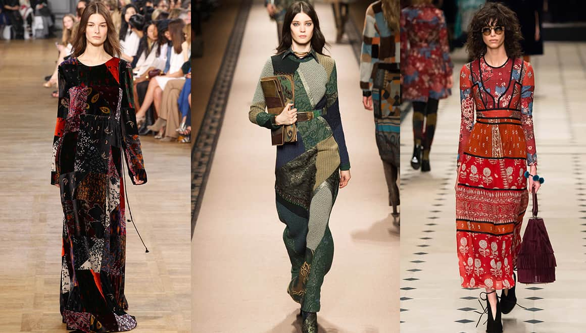 From left to right: Cloe, Etro and Burberry Prorsum