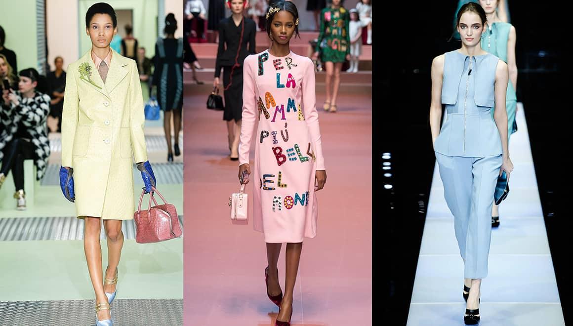 From left to right: Prada, Dolce & Gabbana and Giorgio Armani