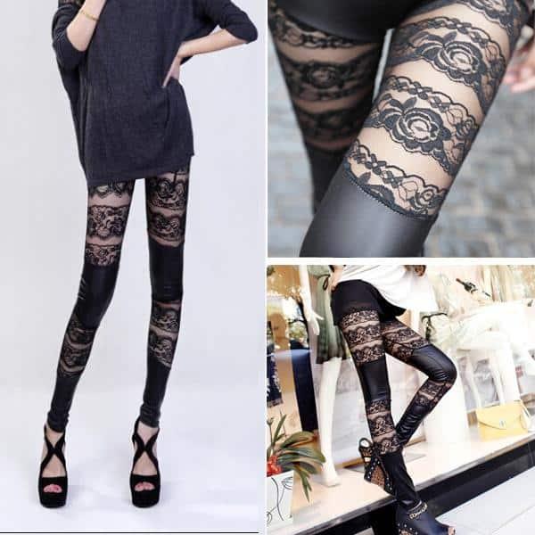Lace-Faux-Leather-Stretch-Pants-Leggings-Black-2016