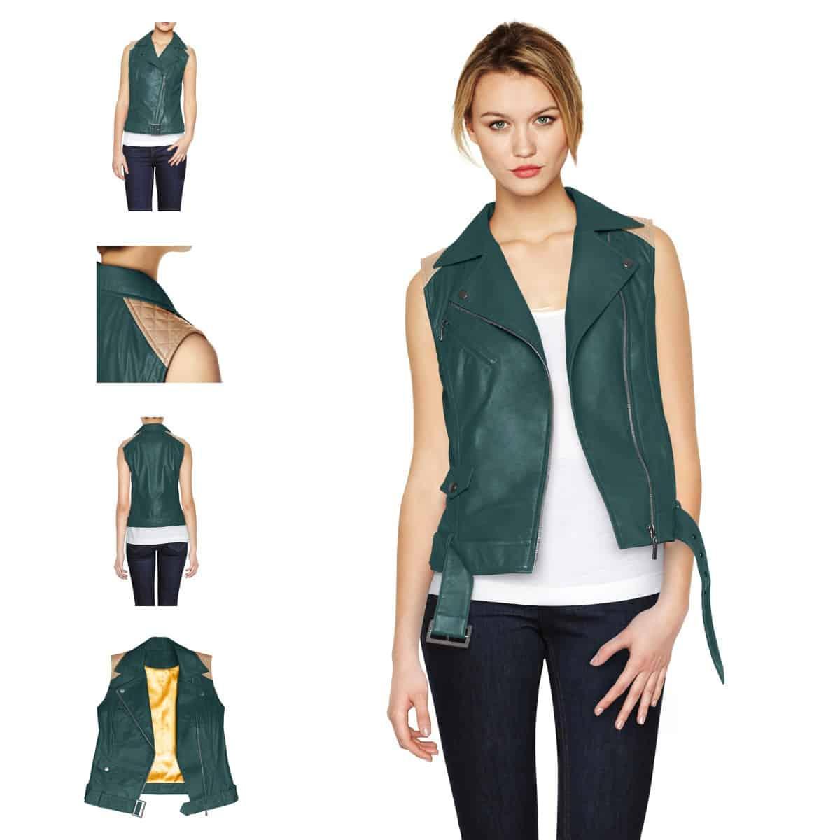 Women's-Sleeveless-leather-jacket