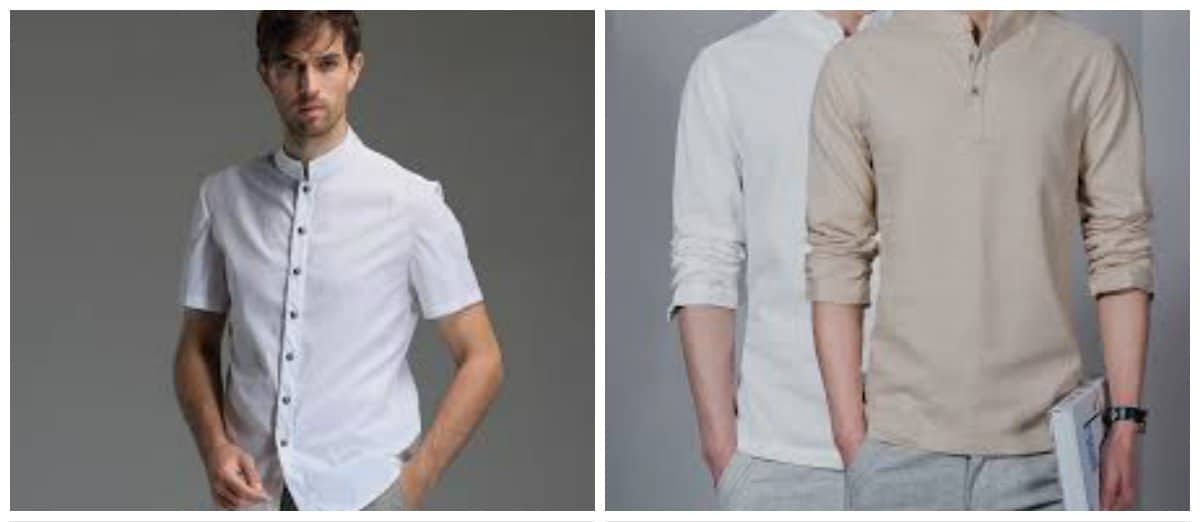 mens-shirts-2018-without-collar-Fashionable shirts without collar