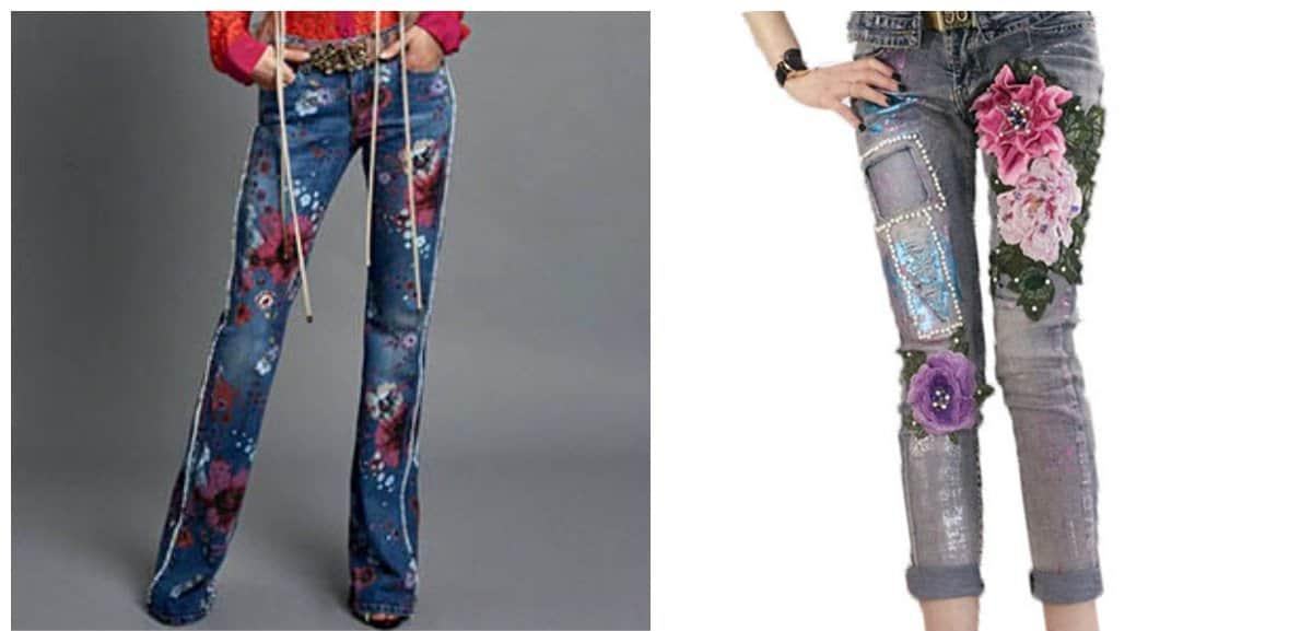 women-dresses-2018-jeans-with-floistic-motifs-Fashion dresses 2018-Women dresses 2018