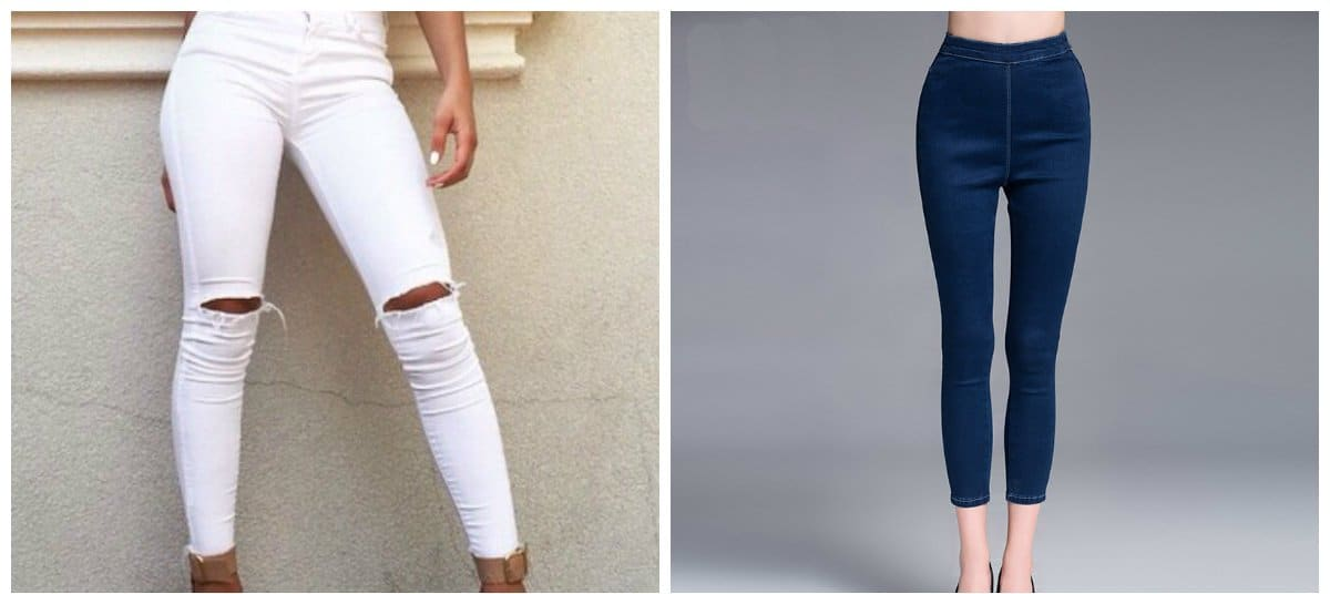 jeans 2018, white jeans and dark blue skinny