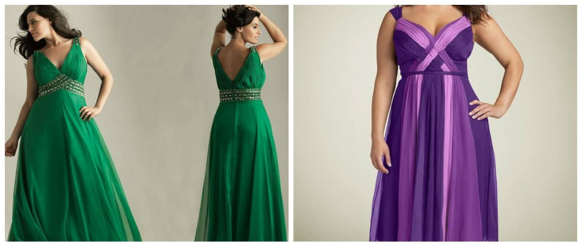 plus size graduation dresses, emerald and purple plus size dresses