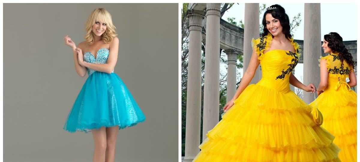 elegant evening gowns, blue and yellow ball gown dresses