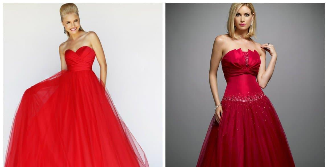 ball gown dresses, red stylish ball gown dresses