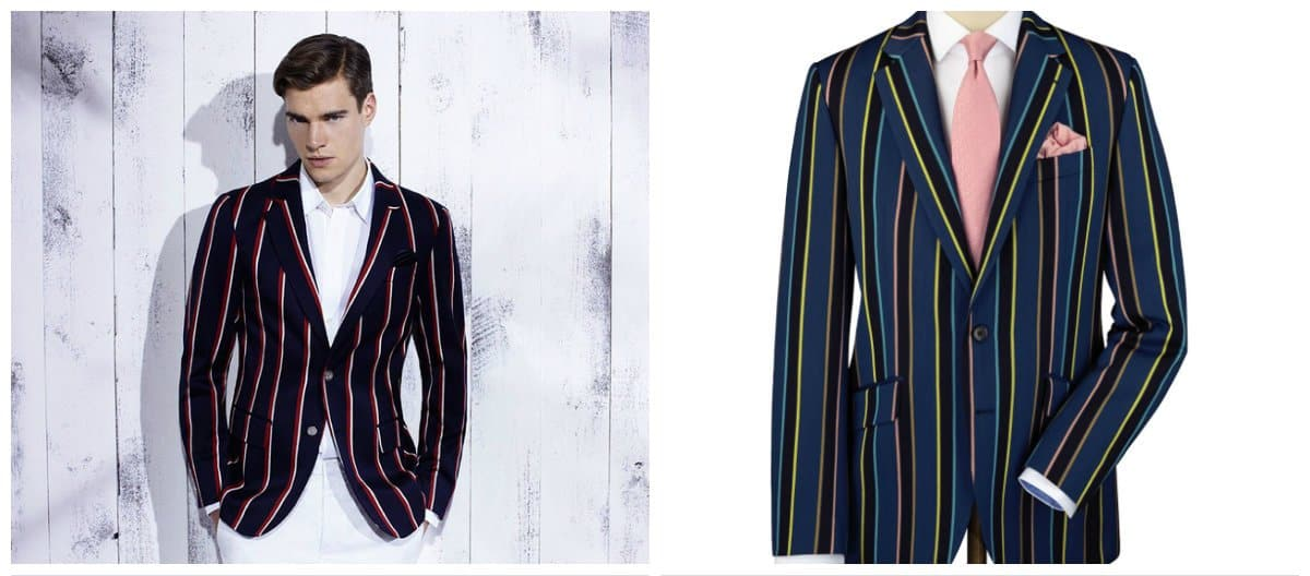 mens fashion blazer, blazer with stripes and cages