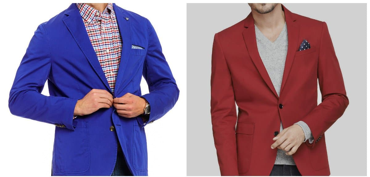 mens fashion blazer, red trendy blazer for men, blue fashionable blazer for men