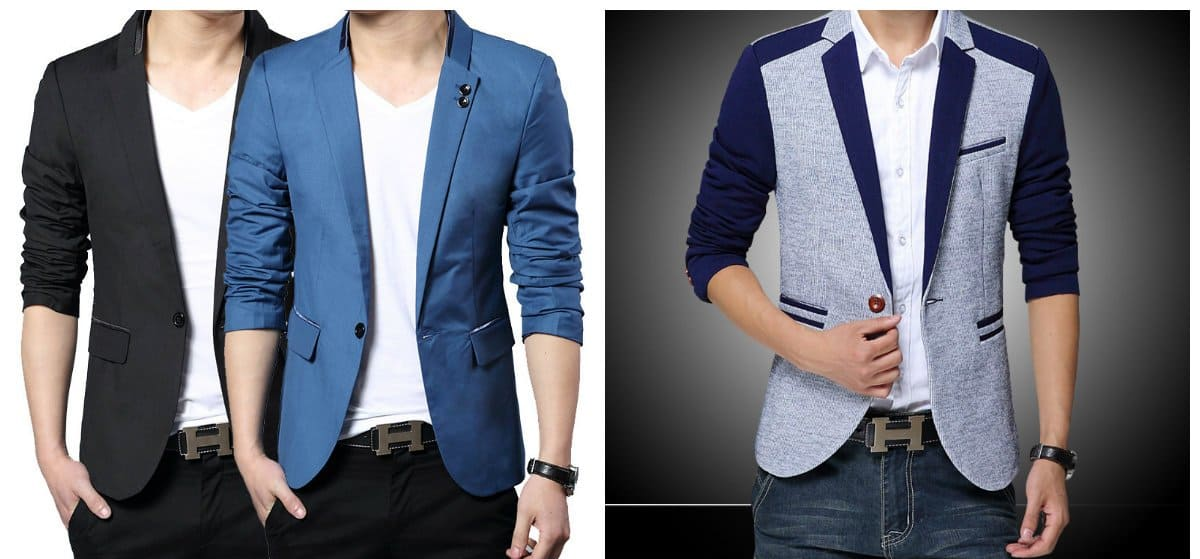 Try a casual look with our Tech System Blazer, or dress it up with our Slim Cotton Sateen Blue Suit Jacket. How a men's blazer should fit? A men's blazer should be slimming with enough room in the shoulders and sleeves that hit your wrists. Typically, a blazer should fall near the hip.
