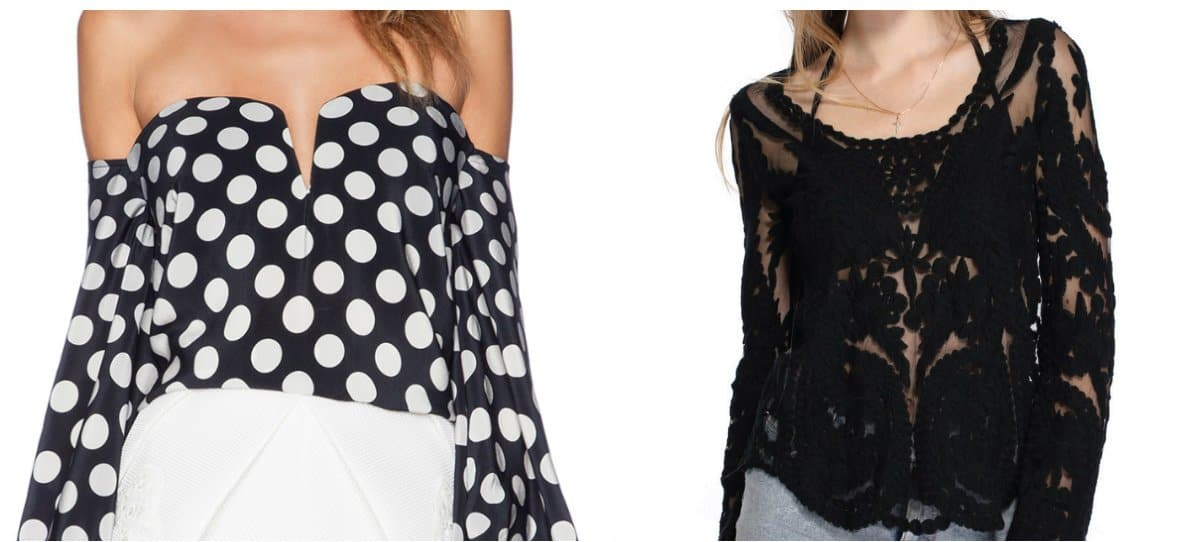 blouse trend 2018, dotted blouses, black blouses