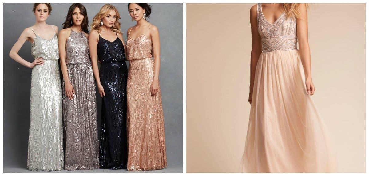 bridesmaid dresses 2018, metallic dresses
