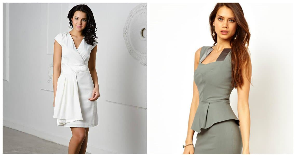 trendy formal dresses, white and gray formal wear