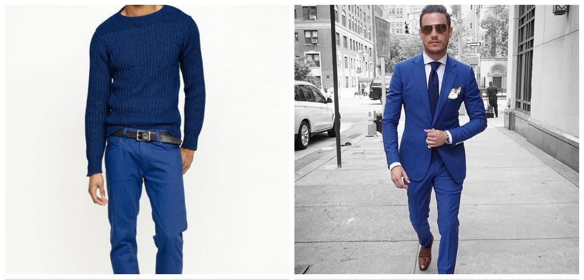 menswear trends 2018, blue pants and suit for men