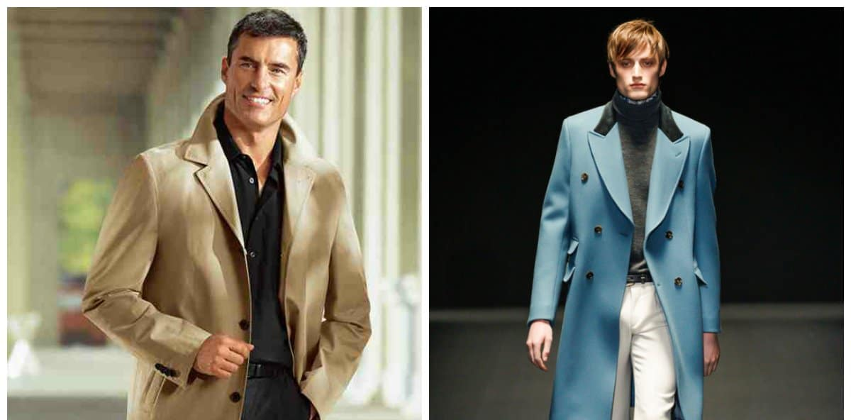 mens fashion coats, caramel and light-blue coats