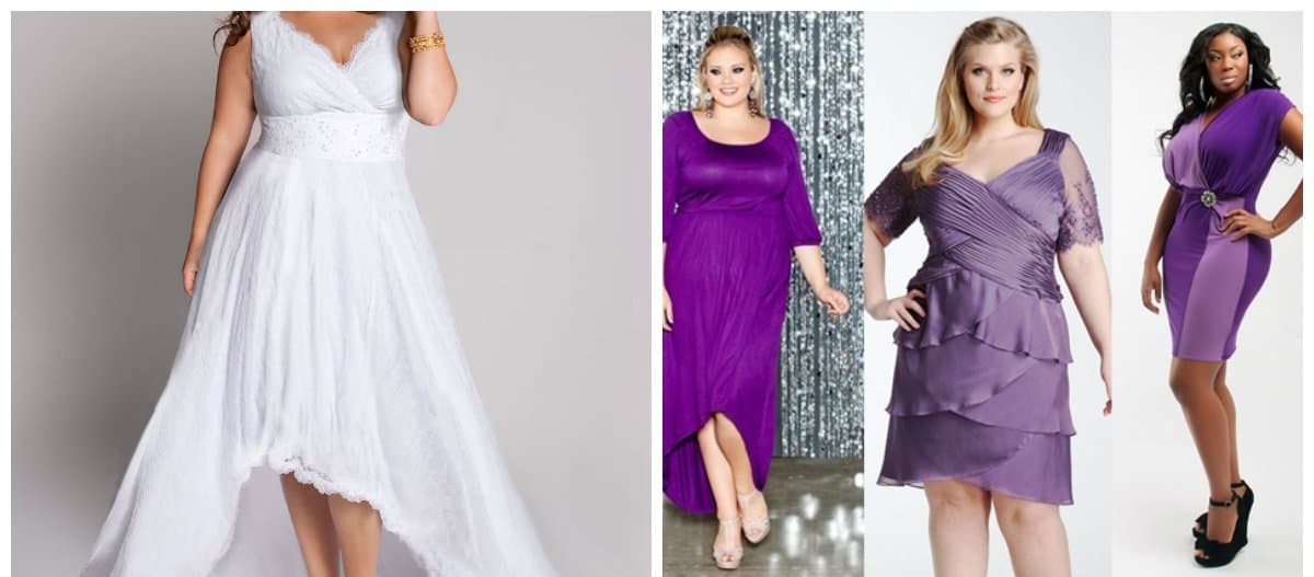 trendy plus size dresses, white and lilac dresses