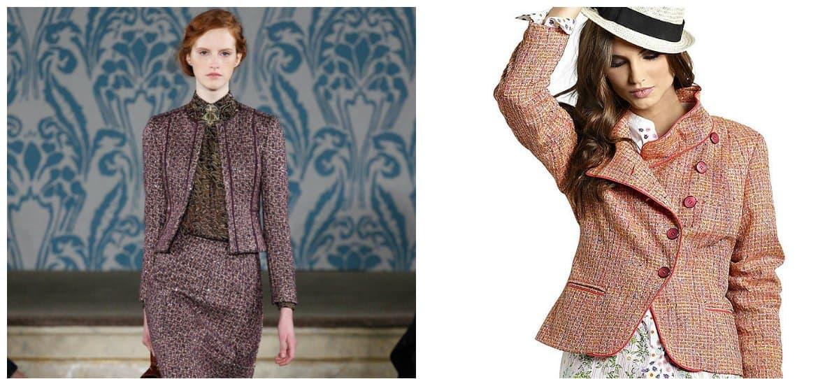 ladies blazer, trendy materials of blazers, tweed blazers