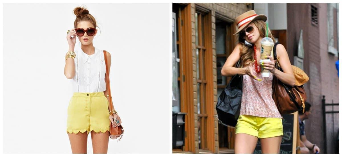 female shorts, yellow shorts for stylish women