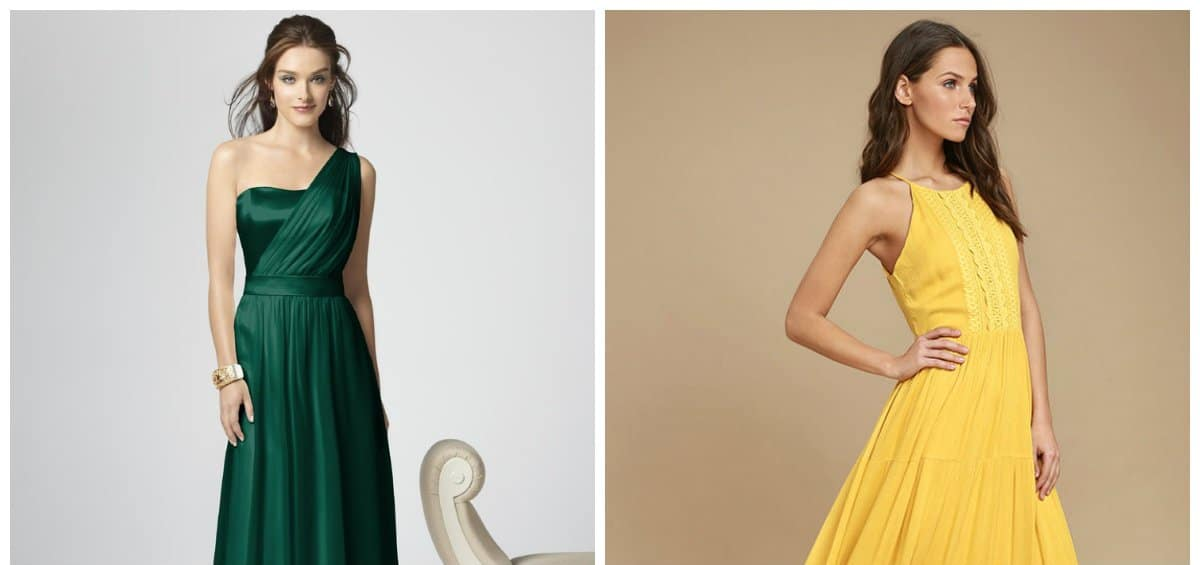 fashion dresses 2018, emerald and yellow color dress trends