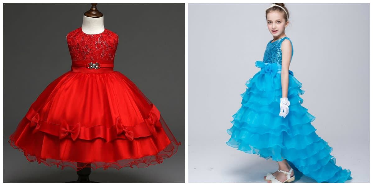 flower girl dresses 2019, girls party dresses 2019, party dress with lush skirt, party dress with train