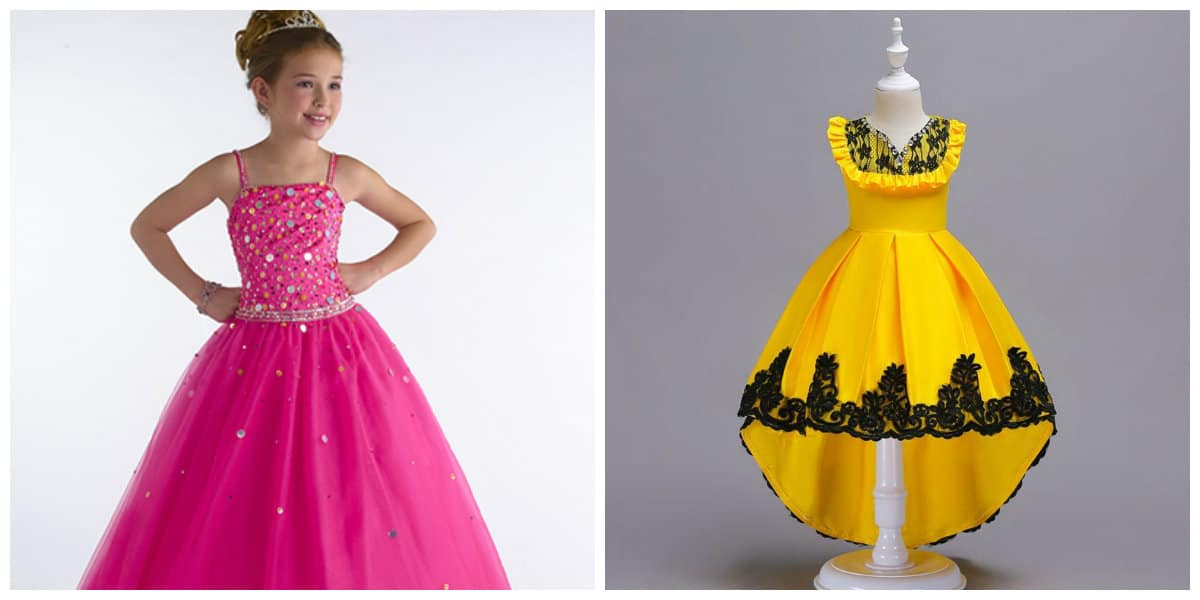 flower girl dresses 2019, girls party dresses 2019, yellow party dress, pink party dress