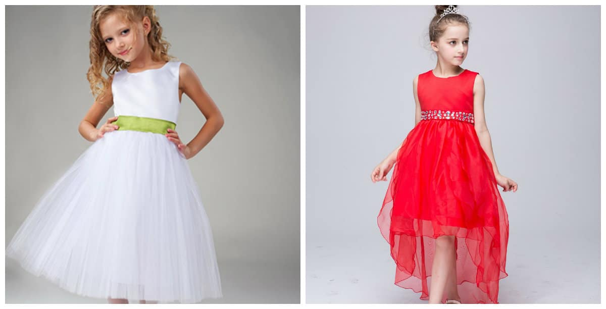 flower girl dresses 2019, girls party dresses 2019, white party dress, red party dress