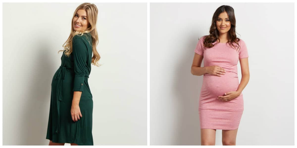 maternity dresses 2019, green maternity dress, pink maternity dress