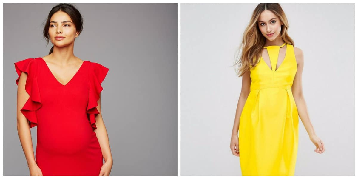 maternity dresses 2019, red maternity dress, yellow maternity dress