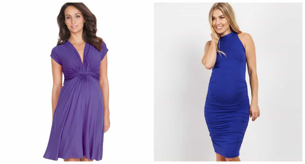 maternity fashion 2019, maternity fashion trends 2019, blue dress, purple dress