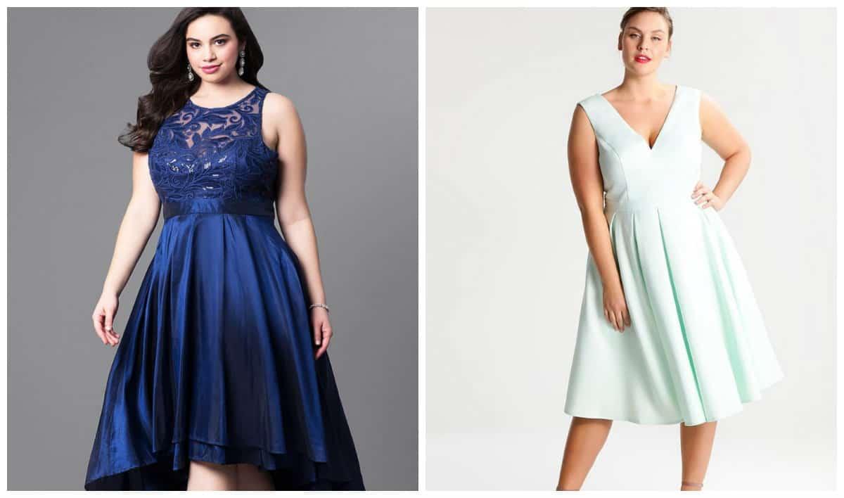 plus size dresses 2019, plus size formal dresses 2019, plus size denim dress 2019, plus size dress with shortened front, A-line plus size dress