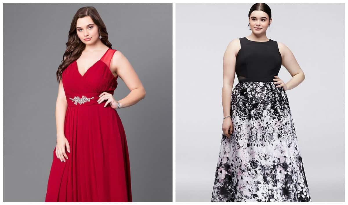 plus size dresses 2019, plus size formal dresses 2019, plus size denim dress 2019, plus size dress with wide skirt, plus size dress V-shape neckline