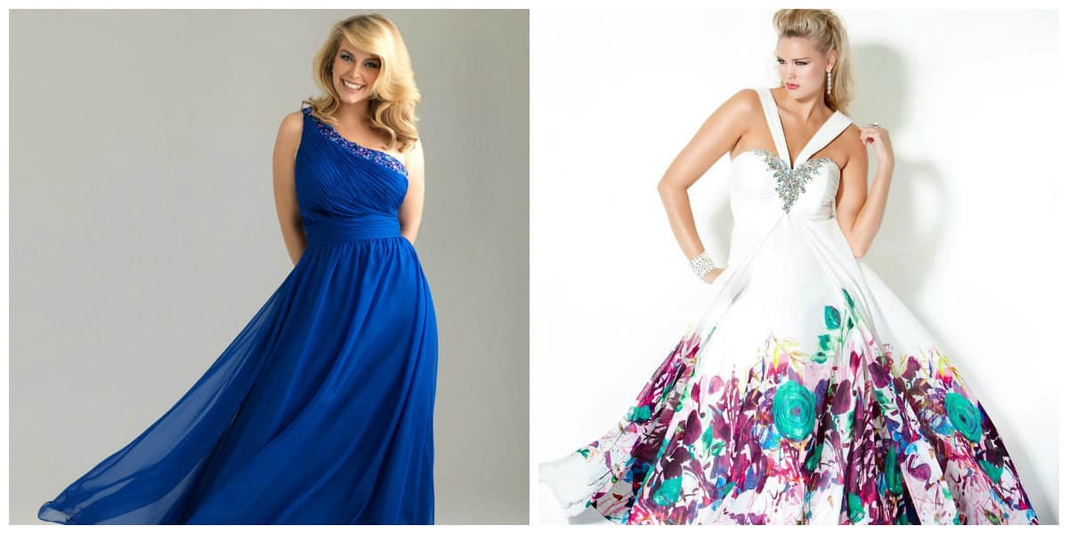 plus size prom dresses 2019, plus size floral dress, plus size asymmetrical dress
