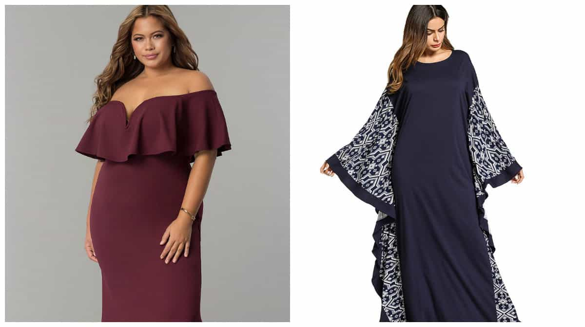 plus size prom dresses 2019, plus size bat style dress, plus size dress with flounces