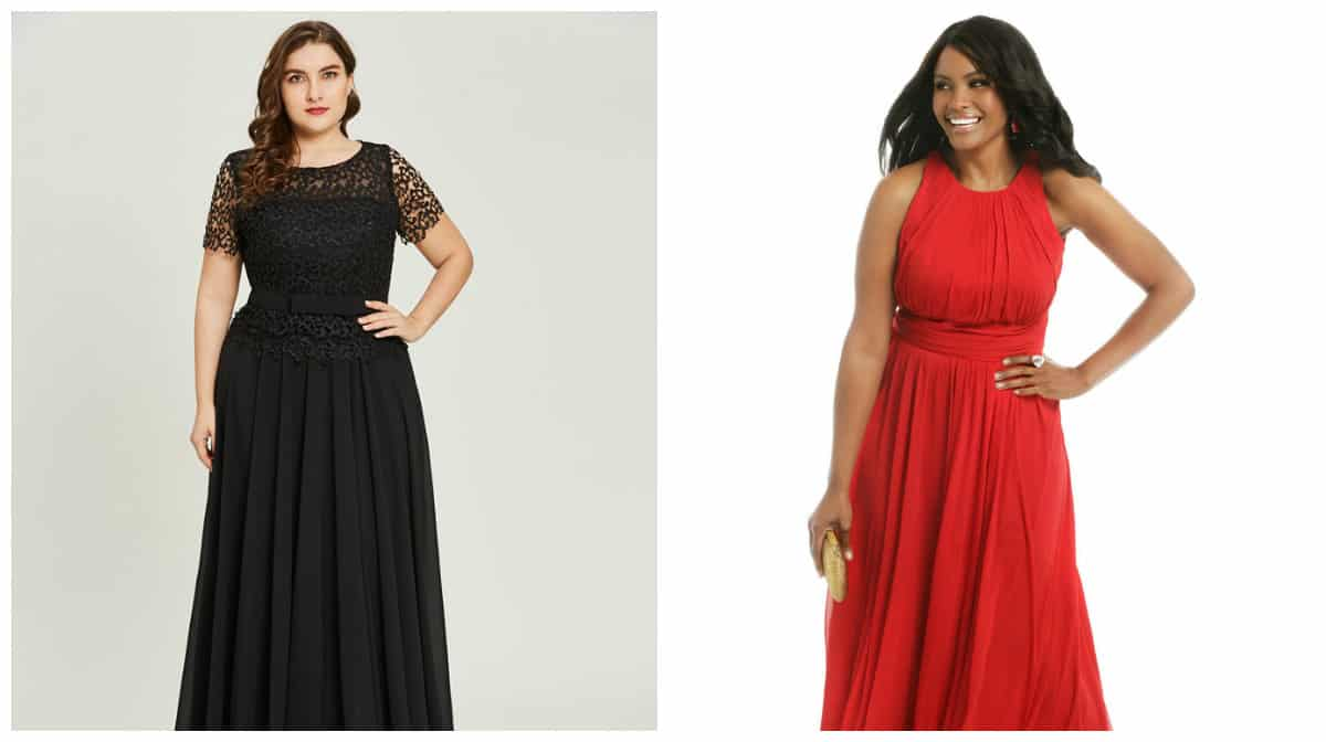 plus size prom dresses 2019, plus size black dress, plus size red dress