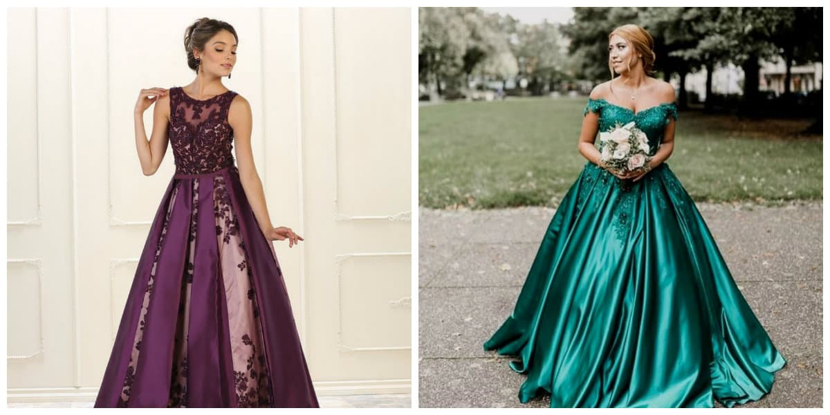 plus size prom dresses 2019, plus size purple dress, plus size green dress