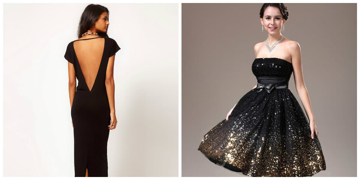 prom dresses 2019, black prom dresses 2019, black prom dress with open back, black prom dress with flare skirt