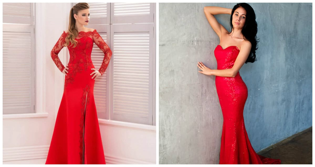 prom dresses 2019, fashionable red prom dresses 2019