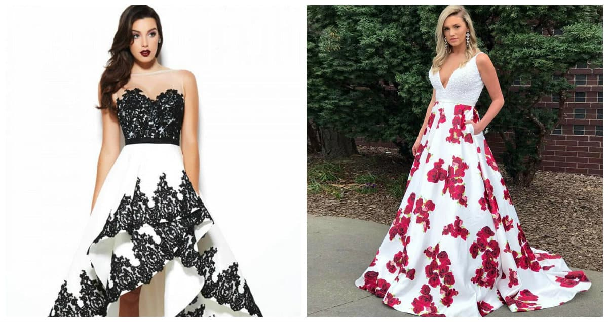 prom dresses 2019, white prom dresses 2019, white and black prom dress, white floral prom dresses