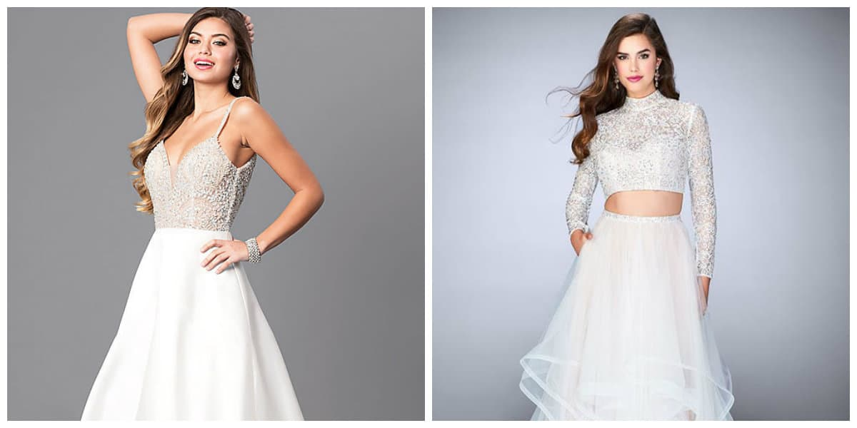 prom dresses 2019, fashionable white prom dresses 2019