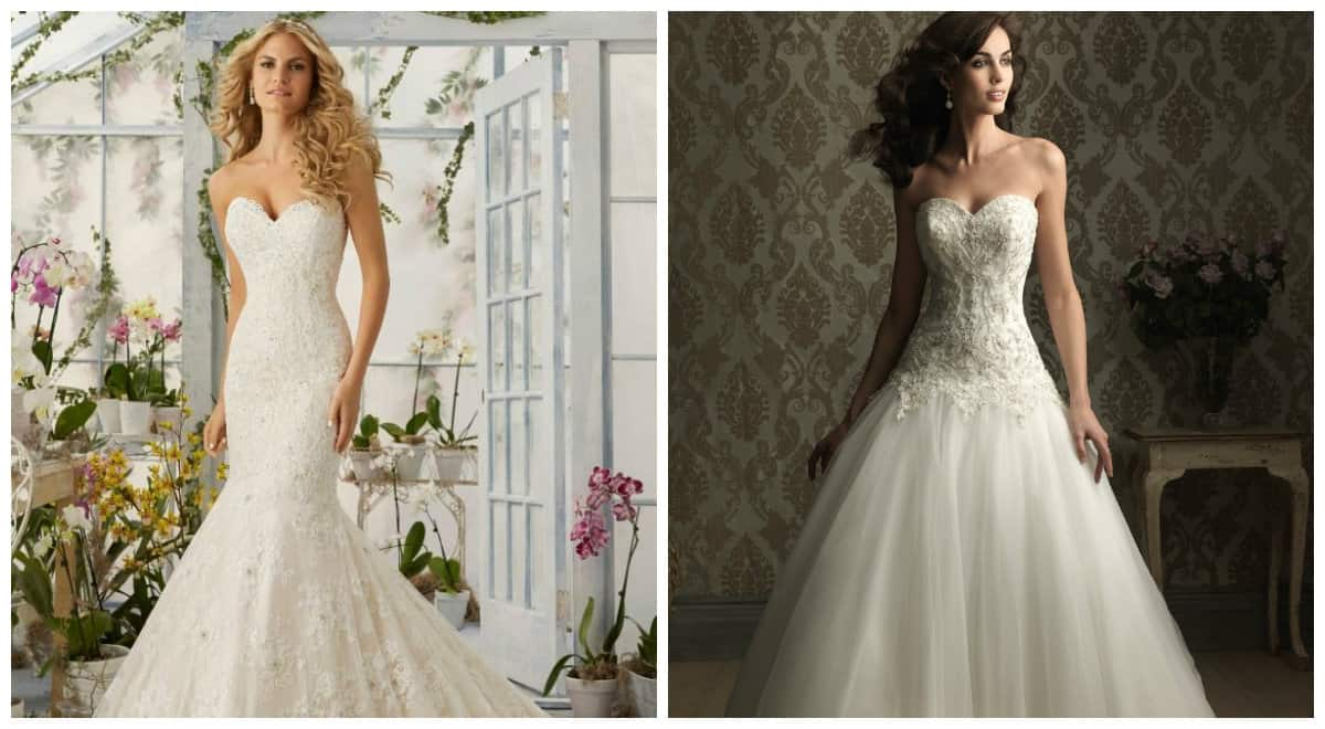 wedding dresses 2019, heart shaped neckline wedding dresses 2019
